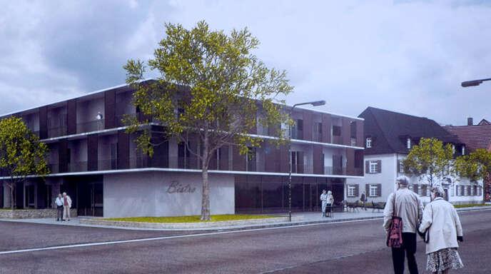 So soll der Neubau aussehen, der in Gengenbach auf dem Gelände des abgerissenen Krankenhauses entstehen wird. Dieser umfasst unter anderem 90 Pflegeplätze sowie Räume für vier Arztpraxen. Das Alte Spital im Hintergrund wird saniert und Verwaltungssitz aller Medizinischen Versorgungszentren des Ortenaukreises.