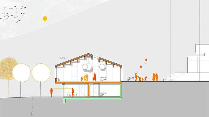 Diese Grafik vermittelt einen ersten Eindruck des neuen evangelischen Gemeindehauses in Zell. Über einen Platz und Treppen ist die Kirche (rechts) erreichbar.