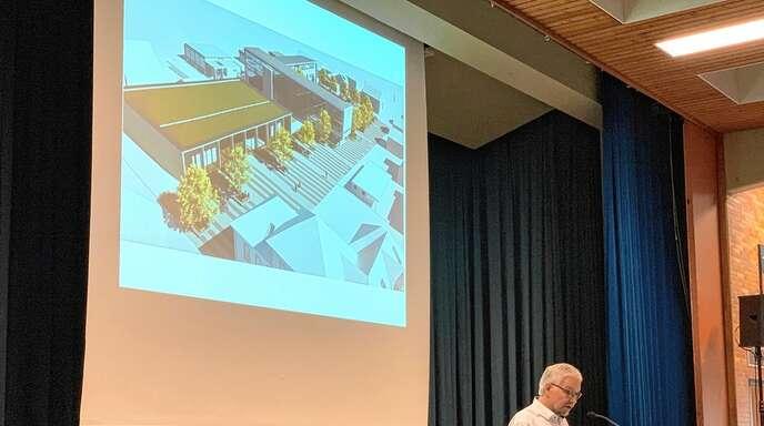 Bürgermeister Nicolai Bischler stellte in der Bürgerversammlung unter anderem die geplante Mehrzweckhalle vor.