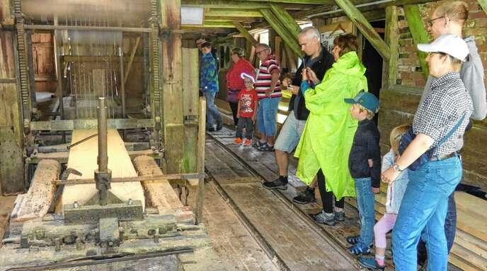 Die mit Wasserkraft betriebene Säge versetzte zahlreiche Zuschauer in Erstaunen.