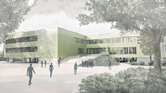 Vor die Betonfassade des HFG soll eine wärmegedämmte Konstruktion gestellt werden, die farbig hinterlegt ist.
