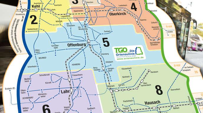 Sechs große statt wie bislang 50 Tarifzonen gibt es im ÖPNV-Verkehr der Ortenau ab morgen. Die Tarifzone 3 (oben) ist das Achertal. Es gibt keine Tarifzonen eins und sieben, die neue Nummerierung hat sich aus den alten Tarifzonennummern ergeben.