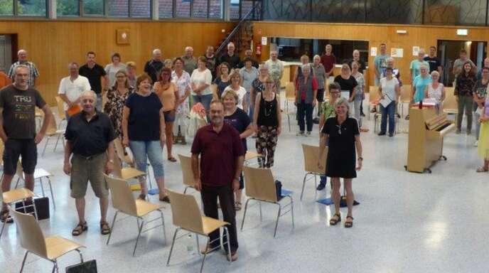 Gemeinsam geübt: der Männergesangverein und die Damen des Projektchores 1. FC.