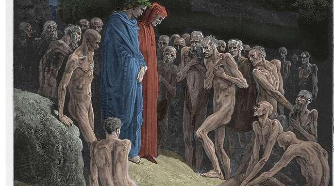 Die einen lassen schon die Korken knallen, die andern müssen noch hungern. Illustration von Gustave Doré zum Canto 23 des Purgatorio.
