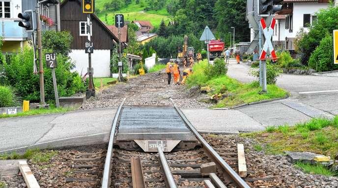 Die Arbeiten zur Schwellen- und Gleiserneuerung auf der Achertalstrecke haben begonnen. Sie dauern bis Sonntag, 8. August.