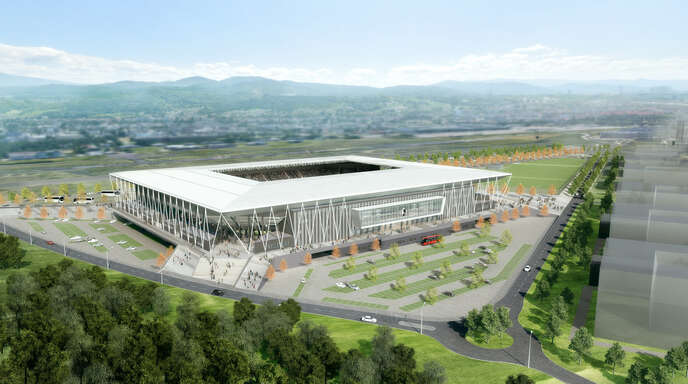Das neue Stadion des SC Freiburg ausder Vogelperspektive.