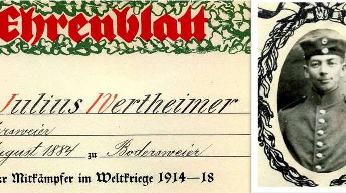 Ehrenblatt für Julius Wertheimer (Ausschnitt). Der Kriegsveteran und seine Ehefrau waren ab1939 in Haigerloch evakuiert. Sie wurden 1941 nach Riga deportiert und erschossen.