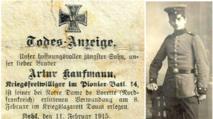 Bildnis und Todesanzeige von Arthur Kaufmann. Er starb im Krieg mit 18 Jahren.