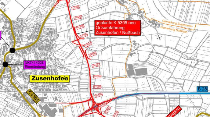 Neue Nord-Süd-Verbindung: Die Umfahrung Zusenhofen/Nußbach soll von der alten B 28 bei Nußbach bis zur Kreisstraße zwischen Zusenhofen und Stadelhofen führen.