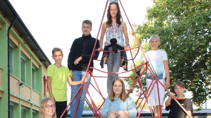 Abschluss eines gelungenen JuMobil-Tages war das Gruppenbild im Pausenhof der Griesheimer Schule