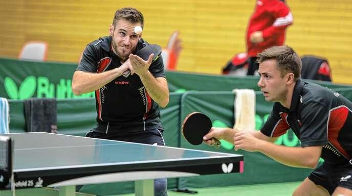 Jonas Malutzki (rechts) ist die Nummer 1 bei der DJK Oberschopfheim und hofft, dass Sascha Schwendemann (links) trotz Verletzung bald wieder einsatzfähig ist.