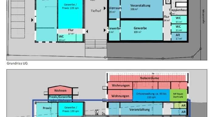 """Während in der """"Kelterei"""" Praxen, Wohnungen und Gewerbe Platz finden sollen (links), sind in der """"Alten WG"""" die Ortsverwaltung und das Dorf-Café eingeplant."""