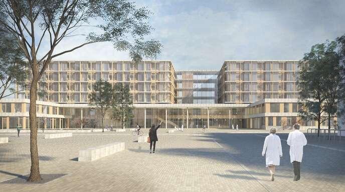 Blick auf den Eingangsbereich: So könnte das neue Klinikum aussehen, das ab 2030 im Stadtteil Bohlsbach in Betrieb gehen soll.