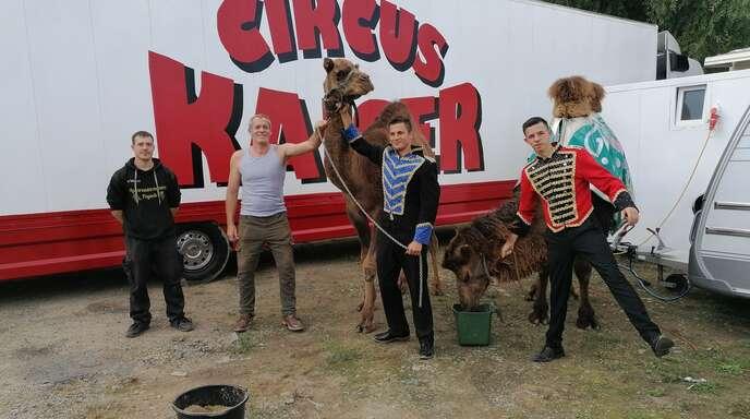 Sind gerade eifrig am Aufbauen: Die Jungs der Familie Kaiser (von links) Fabian, Alex Marlon und Papa Edmund mit den Kamelen Ahmet und Aladdin.