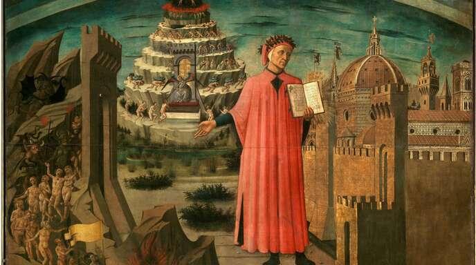 Hölle, Fegefeuer, Paradies: der Blick aufs Ganze von Domenico di Michelino (1417 bis 1491) im Dom von Florenz