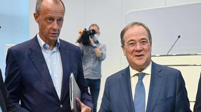 Friedrich Merz (links) und Armin Laschet am 15. September beim Arbeitgeberverband Südwestmetall in Stuttgart