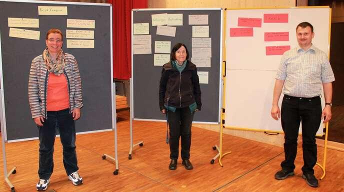 Thema im Haslacher Pfarrgemeinderat war die Kirchenentwicklung 2030 (von links): Dekanatsreferentin Ruth Scholz, Pfarrgemeinderatsvorsitzende Angelika Spitzmüller und ihr Stellvertreter Franz-Josef Schultheiß.