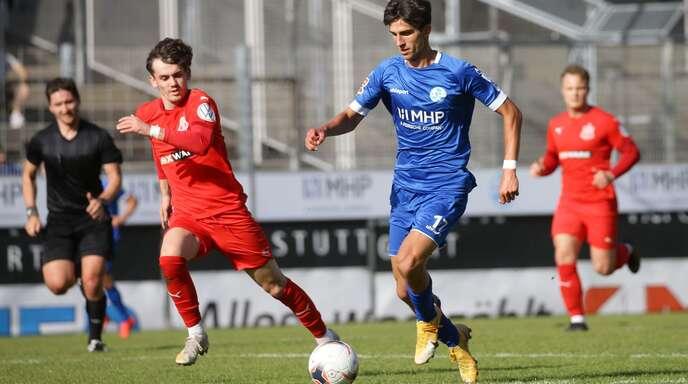 Der 19-jährige Konrad Riehle kommt bei den Stuttgarter Kickers immer besser in Fahrt.