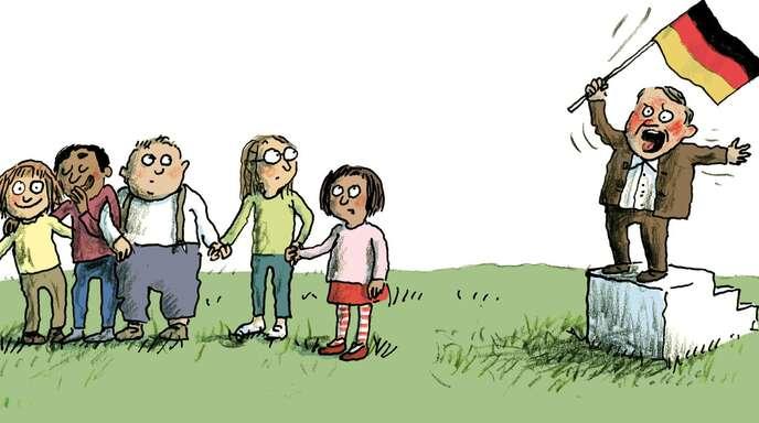 """""""Alle Kinder wollen Frieden. Außer Björn – der will stör'n."""" Mit diesem Kommentar zeigen die Illustratorin Anke Kuhl und der Berliner Buchhändler Heinz Ostermann der rechten Ecke die rote Karte."""