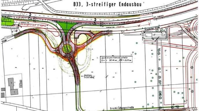 Die Wunsch-Variante des Steinacher Gemeinderats und des Zweckverbands »Interkom« sieht eine Auf- und eine Abfahrt mit Kreisverkehr vor.