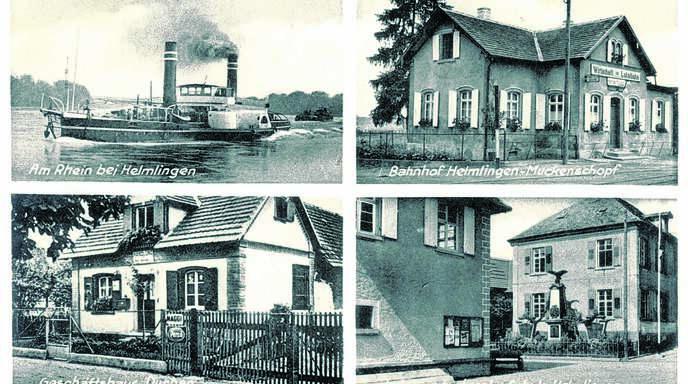 Der nördlichste Rheinauer Stadtteil Helmlingen – hier eine historische Postkarte mit verschiedenen Ansichten – gehörte im Laufe seiner Geschichte zunächst kirchlich zu Scherzheim und dann zu Lichtenau. Das macht für Ortshistoriker die Suche in Archiven nicht gerade einfacher.