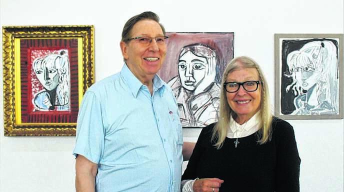 Kunstmäzen Jürgen Messmer lud zur Ausstellungseröffnung die Picasso-Muse Sylvette David ein, die sich später Lydia Corbett nannte.
