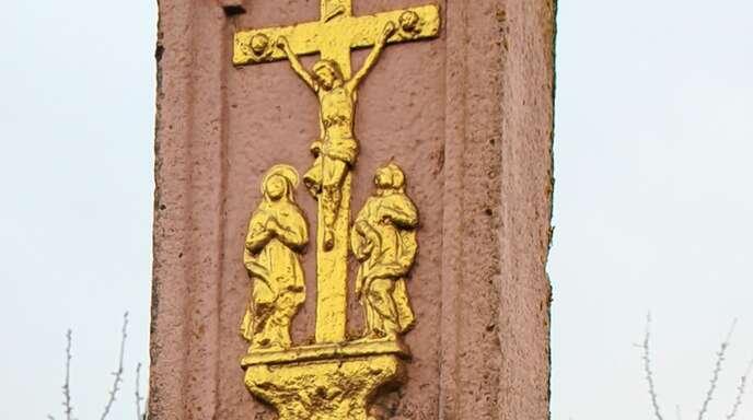 Ein Bildstöckle erinnert an den Standort des Holzhofs nahe des alten Wasserwerks am Maiwald.