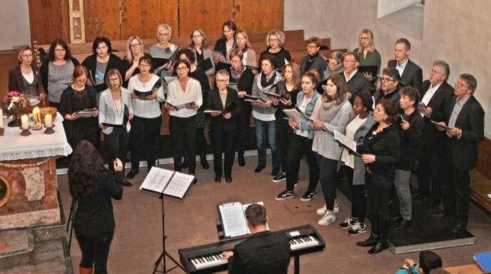 Jung und Alt sangen gemeinsam in dem Projektchor, der ein umjubeltes Konzert für die Kirche Allmannsweier gab.