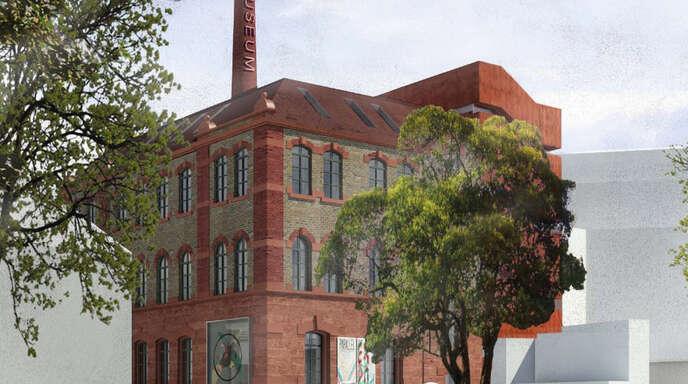 Die Visualisierung zeigt die Tonofenfabrik in der Kreuzstraße nach dem Umbau zum Museum.