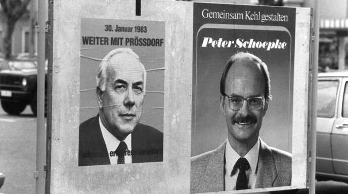 Ein Kopf-an-Kopf-Rennen lieferten sich Amtsinhaber Detlev Prößdorf und Herausforderer Peter Schoepke 1983.