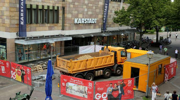 Laut Stefan Räpple ist die Baustelle am Lindenplatz der Grund für die Absage der Kundgebung.