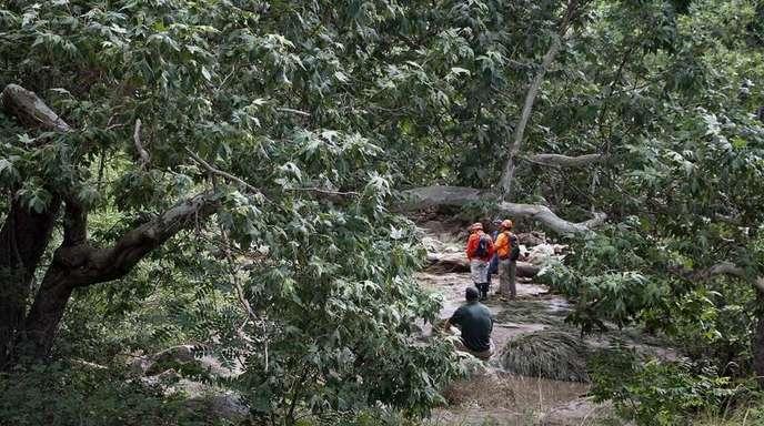 Rettungskräfte suchen im Tonto National Forest, bei Payson, Arizona, USA, in der Nähe der Water Wheel Campinganlage nach vermissten Schwimmern.