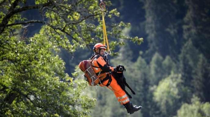 Ein Mitglied des Such- und Rettungsdienstes und ein Rettungshund werden abgesetzt.