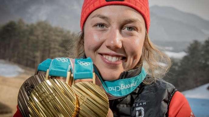 Nimmt in Kontiolahti den finalen Kampf auf den Gesamtweltcup auf: Biatletin Laura Dahlmeier.