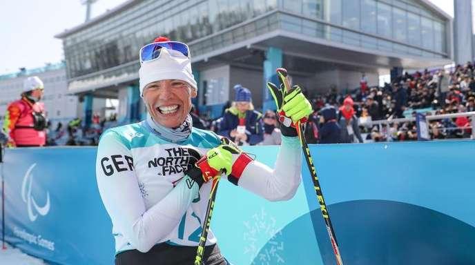 Andrea Eskau gewann im Biathlon die Goldmedaille.