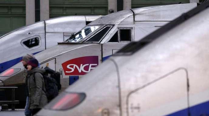 Züge der nationalen französischen Eisenbahngesellschaft SNCF stehen während eines Streiks im Bahnhof Gare de Lyon in Paris.