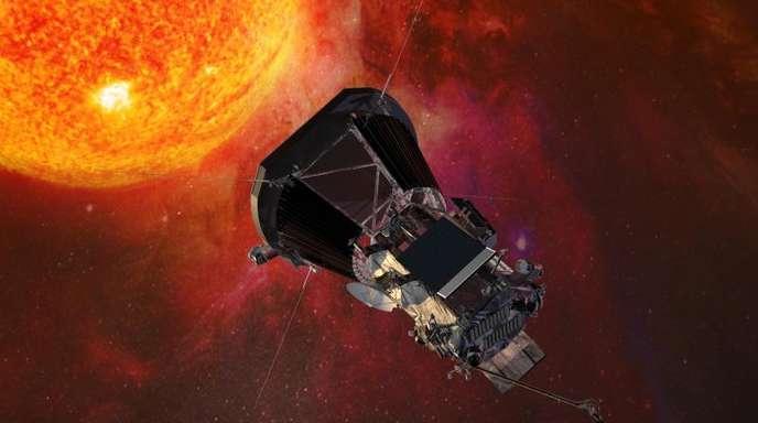 Die Computergrafik zeigt die «Parker Solar Probe»-Sonde der US-Raumfahrtbehörde Nasa auf dem Weg zur Sonne.