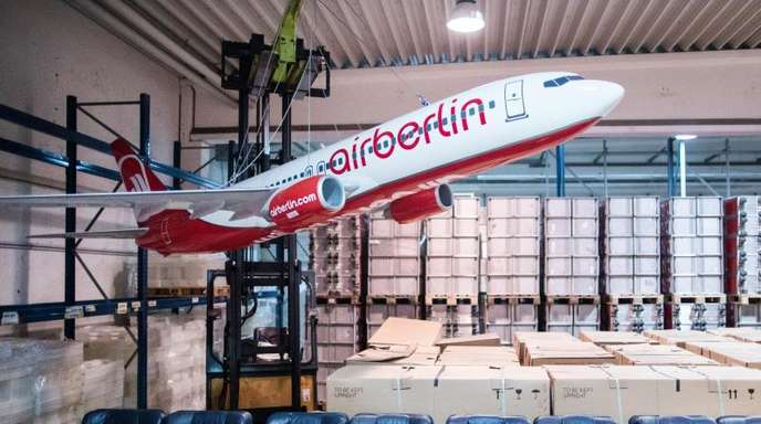 Air-Berlin-Inventar in Essen: Die ehemals zweitgrößte deutsche Airline hatte am 15. August 2017 Insolvenz angemeldet.