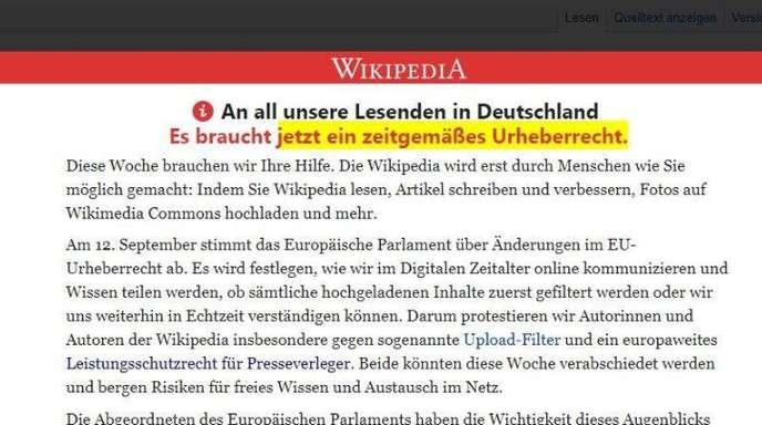 Vorschaltseite der freien Internet-Enzyklopädie Wikipedia, die zum Protest gegen die geplante Reform des europäischen Urheberrechts aufruft.
