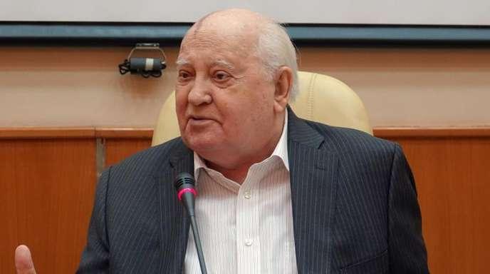 Der frühere sowjetische Präsident Michail Gorbatschow bei der Vorstellung seines neuen Buchs in Moskau.