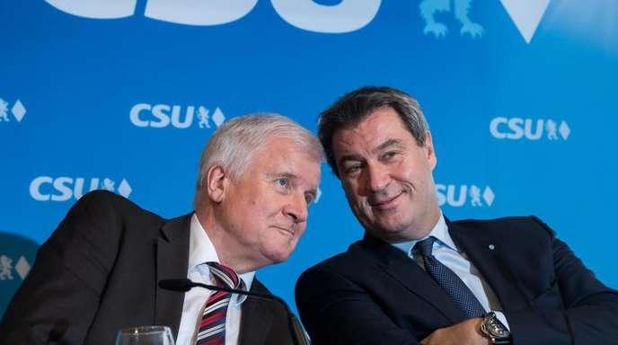 Betont gelassen angesichts der katastrophalen Umfragewerte: CSU-Chef Horst Seehofer und der bayerische Ministerpräsident Markus Söder.