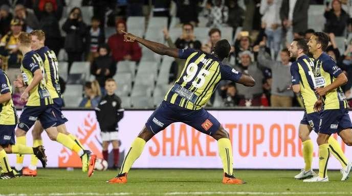 Usain Bolt erzielte zwei Tore für seinen Verein Central Coast Mariners.