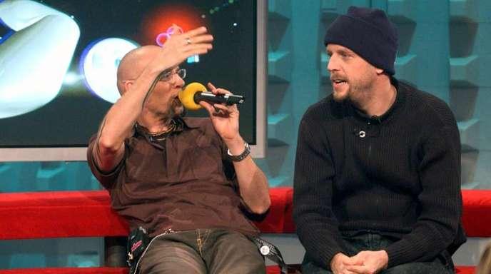 Thomas D (l) und Smudo bei einer Viva-Feier zum 10. Geburtstag. Mit dem Video «Zu geil für diese Welt» von den Fantastischen Vier startete der Musiksender einst sein Programm.