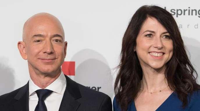 Amazon-Chef Jeff Bezos und seine Ehefrau MacKenzie Bezos 2018 in Berlin.