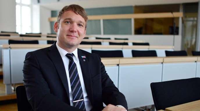 Sein Mandat will er nach dem Austritt behalten: Sachsen-Anhalts damaliger AfD-Landeschef André Poggenburg im Landtag in Magdeburg.