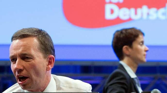 Beide nicht mehr dabei: Der zu dieser Zeit noch amtierende AfD-Chef Bernd Lucke und seine damalige Co-Vorsitzende Frauke Petry.