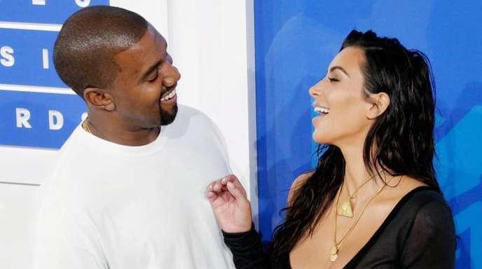 Reality-Star Kim Kardashian und Rapper Kanye West bei den MTV Video Music Awards (VMA) 2016.