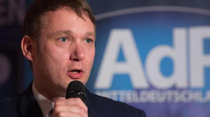 Andre Poggenburg, der frühere Landesvorsitzende der AfD in Sachsen-Anhalt, beim Neujahrsempfang seiner neuen Partei AdP (Aufbruch deutscher Patrioten).