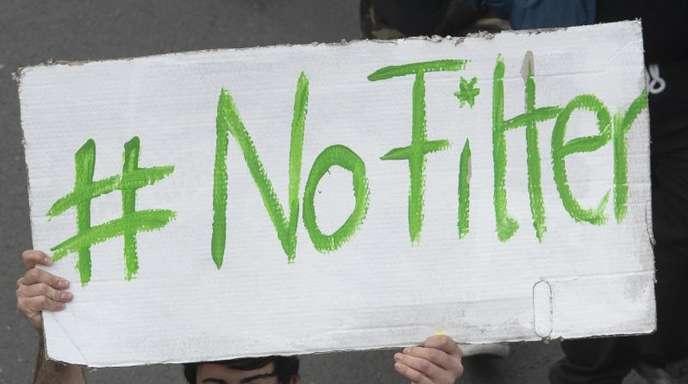 Demonstration gegen die geplante EU-Urheberrechtsreform in Berlin.
