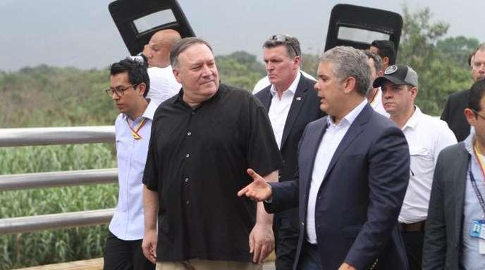 US-Außenminister Mike Pompeo mit dem kolumbianischen Präsidenten Ivan Duque an der Grenze zu Venezluela.